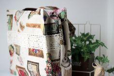 E074-137 24cmファスナーのあおりバッグ : うねうねごろごろ Burlap, Reusable Tote Bags, Blog, Handmade, Accessories, Patterns, Free, Japanese Language, Block Prints