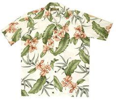 Ginger Shadow White Hawaiian Rayon Shirt