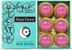 Moon Flower Six Organic Handmade Large and Lush Bath Bomb Gift Set -- Want additional info? Click on the image.