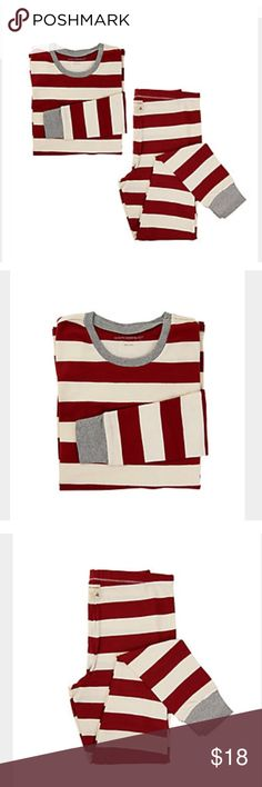Burt's Bees Pajamas Red and white rugby striped pajamas from Burt's Bees. Featured in Oprah's Favorite Things 2017. two piece. Size medium but has some stretch to them. Worn twice (see last picture) so in good condition. Trimmed in gray. Open to offers. Burt's Bees Baby Intimates & Sleepwear Pajamas