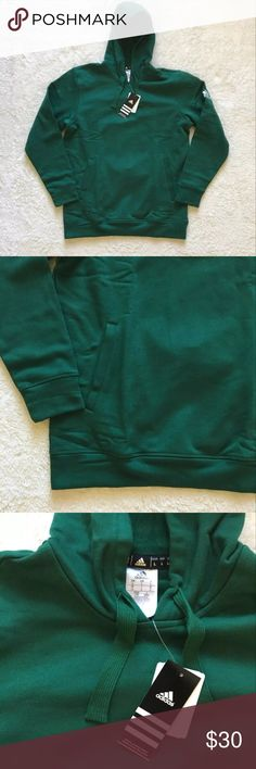 """Men's Adidas Fleece Hoodie Sweatshirt Sz L New New with tags  Forest Green color 2 side pockets White adidas logo on the sleeve Hooded with drawstring Men's size Large Length-29"""" Armpit to armpit-22"""" Sleeve to shoulder-26"""" adidas Shirts Sweatshirts & Hoodies"""