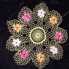 Vintage Hand Crocheted Doily 3 Dimentional Roses Pink Tangerine White Mint Green
