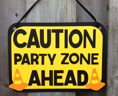 Construction theme party sign, caution sign, construction birthday party, party decorations, baby shower decor, construction bedroom decor on Etsy, $9.42