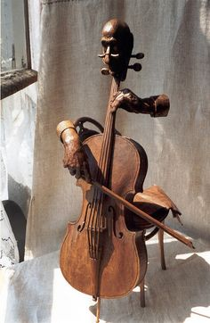 "Entr'acte"" Caucasian walnut wood sculpture by Yuri Firsanov. Entr'acte"" Caucasian walnut wood sculpture by Yuri Firsanov. Arte Cello, Violin Art, Cello Music, Instruments, Art Sculpture, Wooden Art, Wood Carving, Amazing Art, Awesome"