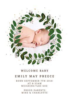 White Bloom - Baby Shower & New Baby Card Birth Announcement Template, Announcement Cards, Baby Shower Invitation Cards, Baby Shower Cards, Baby Emily, Welcome New Baby, Bloom Baby, New Baby Cards, Baby Birth