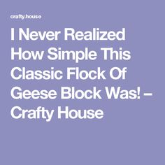I Never Realized How Simple This Classic Flock Of Geese Block Was! – Crafty House