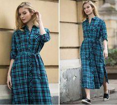 Flannel Plaid Shirt Dress