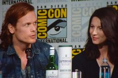Playing an #Outlander drinking gameduring their #SDCC panel. Here's @SamHeughan & @caitrionambalfe! ""