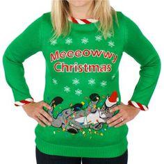 Women's Meowy Christmas Light-Up Cat Sweater