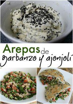 Deliciosas y nutritivas arepas vegenas de garbanzo y ajonjolí, rellenas de tabule. Receta | arepasfit.com