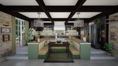 Big Kitchen - Rustic - Kitchen - by Big Kitchen, Rustic Kitchen, Vintage Kitchen, Kitchen Design, Mulberry Home, Chelsea Garden, Striped Cushions, Rustic Design, Patio