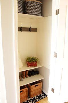 Coat closet makeover hallway closet, closet to mudroom, closet door redo, laundry closet Room Closet, Front Hall Closet, Small Closet, Closet Bedroom, Entry Closet, Laundry Closet Makeover, Home Decor, Closet Organization Diy, Closet Remodel