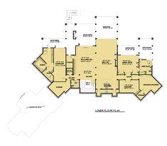 Craftsman, Log House Plan 81916 with 5 Beds, 9 Baths, 4 Car Garage Lower Level Aspen Lodge, Log Home Plans, Mountain House Plans, Castle House, Craftsman Style House Plans, Lodge Style, Flat Roof, Story House, New Home Designs