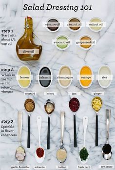 What is better than making your own salad dressing? Refer to this salad dressing guide and enjoy! Make your own salad dressing with healthy ingredients. Make healthy choices with WaterVive, our liquid supplement with over 211 ingredients! Cooking Tips, Cooking Recipes, Healthy Recipes, Healthy Food, Healthy Baking Substitutes, Cooking Corn, Thai Cooking, Healthy Oils, Healthy Salads