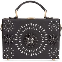 Inc International Concepts Ayjay Box Clutch, ($82) ❤ liked on Polyvore featuring bags, handbags, clutches, black, embellished handbags, holiday handbags, evening box clutch, evening clutches and inc international concepts