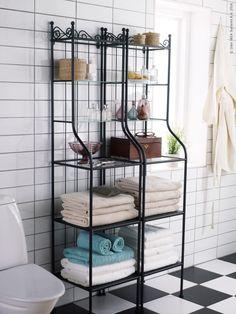 IKEA - RÖNNSKÄR, Shelf unit, black, Removable shelves which are easy to clean. Ikea Bathroom Shelves, Bathroom Furniture, Bathroom Storage, Small Bathroom, Bathrooms, Bathroom Fixtures, Bathroom Organization, Organization Ideas, Storage Ideas