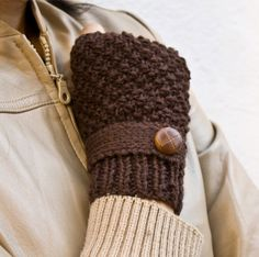 Brown knit fingerless gloves mittens with a strap by homelab, $35.00