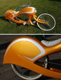 Jason Battersby has created a wheeled wonder he calls Tequila Sunrise. It's a retro-futuristic throwback to the fabulous fifties complete with cyclops headlight and a skirted rear fender.  mod_bicycles_6a