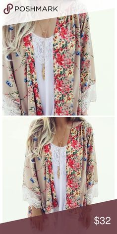 JUST IN🔶️Flowers & Lace Spring Kimono Lightweight and breezy. Gorgeous floral pattern.  Open design with lace trim.  Available in S/M bust (18.5in flat) and L/XL bust (20in flat).  100% poly. Tops