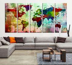 Canvas Art Print - Watercolor World Map Large Wall Art Print, Extra Large Size Art - Grunge Watercolor World Map Print