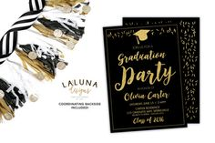 Graduation Invitation, Graduation Party Invitations, Graduation Announcement, Black and Gold Graduation Invites, Faux Gold Foil Invitation Graduation Post, Graduation Ideas, Graduation Party Invitations, Invites, Graduation Announcements, Grad Parties, Gold Foil, Handmade Gifts, Cards