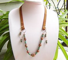 Beaded Leather Necklace with Tribal - good design for hat band - like the dangle beads