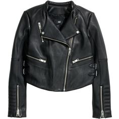 H&M Leather biker jacket (150 CAD) ❤ liked on Polyvore featuring outerwear, jackets, tops, coats, black, motorcycle jacket, leather moto jacket, black biker jacket, leather biker jacket and black jacket