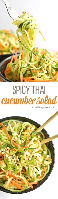 This spicy Thai cucumber salad is soooo good and it uses simple ingredients! It has a touch of sweetness, a hint of spiciness and an awesome Asian flavour! Thai Cucumber Salad, Cucumber Recipes, Veggie Recipes, Asian Recipes, Vegetarian Recipes, Cooking Recipes, Healthy Recipes, Speggetti Recipes, Juice Recipes