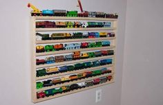 This would be great for my nephew Max. Train Track Rack--for Cook E Room, Kids Room, Train Room, Train Table, Ikea Shelves, Car Storage, Thomas The Train, Trains, Train Tracks