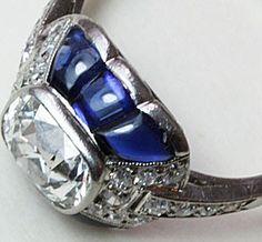 Linzeler & Marchak - Art Déco Bague - Platine, Diamants et Saphirs - Vers 1925