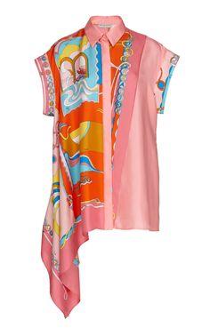 Asymmetric Short-Sleeve Silk Shirt by Emilio Pucci Shirt Transformation, Just Style, Loungewear Set, Italian Fashion Designers, Emilio Pucci, European Fashion, Fashion Sketches, Fashion Brands, Fashion Dresses