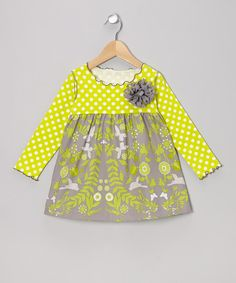 Silly Milly - Chartreuse Flower Dot Lettuce Swing Dress - Toddler & Girls on zulily today!