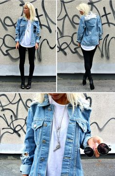 {distressed denim jacket -- would look perfect with something ladylike}