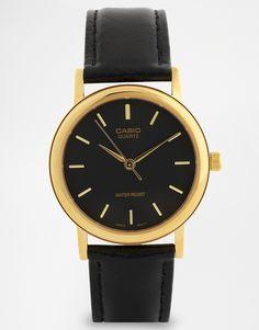 Bild 1 von Casio – MTP1095Q-1A – Schwarze Lederarmbanduhr mit goldenen Details