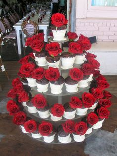 red rose cup cake wedding   Chocolate Flower Pot Red Rose Wedding Cupcake ...   For the You Know ...