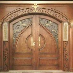 Interior wood doors are naturally beautiful. Wooden Door Design, Main Door Design, Front Door Design, Wooden Doors, Shaker Style Interior Doors, Interior Glazed Doors, Door Design Interior, Big Doors, Cool Doors