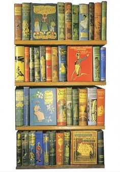 Postcard of Opie Collection of Children's Literature - gorgeous book jackets