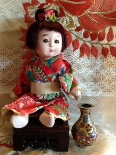 Darling Little Girl Ningyo Doll from Japan 1930s and by Ritzco, $70.00