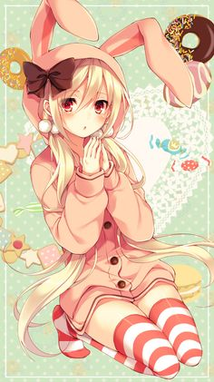 ✮ ANIME ART ✮ anime. . .bunny girl. . .rabbit ears. . .pajamas. . .roomwear. . .striped socks. . .bow. . .twin tails. . .sweets. . .candy. . .food. . .cute. . .kawaii