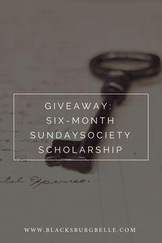 Enter to win a six-month scholarship to Sunday Society, a membership site for creative entrepreneurs. via @blacksburgbelle