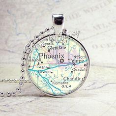 PHOENIX ARIZONA Tempe Glendale Vintage Map Jewelry by PixieWhimsy