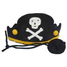 Felt Pirate Hat Set. Fair Trade made of thick wool felt with soft cotton lining. $18.95