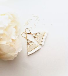 Chandelier Earrings / Fringe Earrings / Beads Earrings / Gold Earrings / Off white / Handmade / Valentine Gift / Bridesmaid Gift / For her