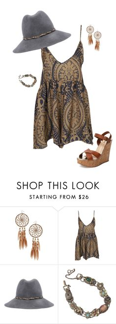 """""""Boho Outfit"""" by verostyle16 ❤ liked on Polyvore featuring Miss Selfridge, One Teaspoon, Eugenia Kim and Schutz"""