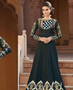 Buy Shapely Black Anarkali Salwar Kameez online at  https://www.a1designerwear.com/shapely-black-anarkali-salwar-kameez-6  Price: $66.76 USD