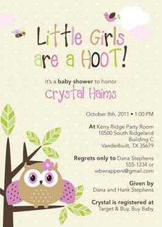 Cute Owl Themed Baby Shower Invitations  Boy or Girl by Whirlibird, $12.99