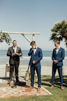 This bohemian chic Malibu wedding is the culmination of 15 months of long distance, and their joyous love is uncontainable. Can I get a witness? wedding groom attire Chic Malibu Wedding For These Long Distance Lovebirds ⋆ Ruffled Groomsmen Outfits, Groom And Groomsmen Attire, Casual Groom Attire, Groom Outfit, Navy Suits Groomsmen, Casual Grooms, Love Birds Wedding, Dream Wedding, Chic Wedding