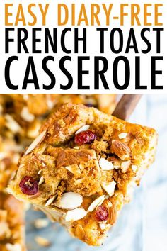 Make French Toast for a crowd with this Easy Dairy-Free French Toast Casserole! To lighten things up a bit this recipe uses a mixture of eggs and egg whites, almond milk and maple syrup for sweetness. This post is sponsored by Almond Breeze. Dairy Free French Toast, Healthy French Toast, Make French Toast, Overnight French Toast, Free In French, French Toast Casserole, Breakfast Casserole, Challah French Toast, Healthy Breakfast Options