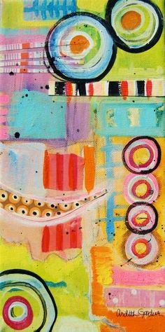 """Ardith's Art Journal: Intuitive Painting Within A Framework   6"""" by 12"""" mixed media acrylic by Ardith Goodwin"""