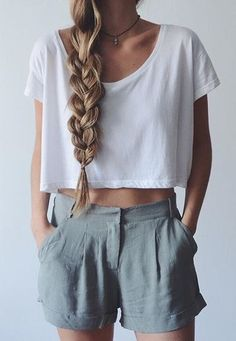 Latest fashion trends: Fashion trends | Voluminous braid, loose crop top and high waist grey shorts